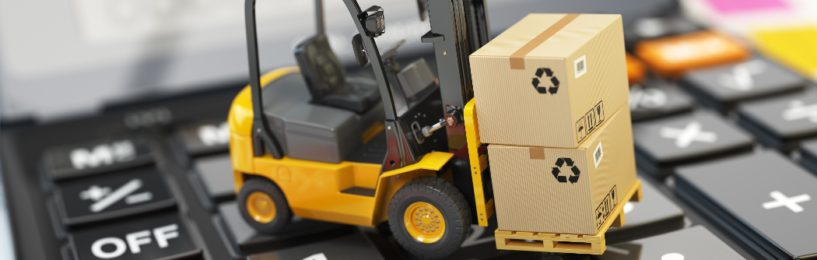 Shipping cost calculator - toy forklift on calculator